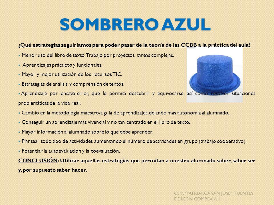 Sombrero Azul ¿Qué estrategias seguiríamos para poder pasar de la teoría de las CCBB a la práctica del aula