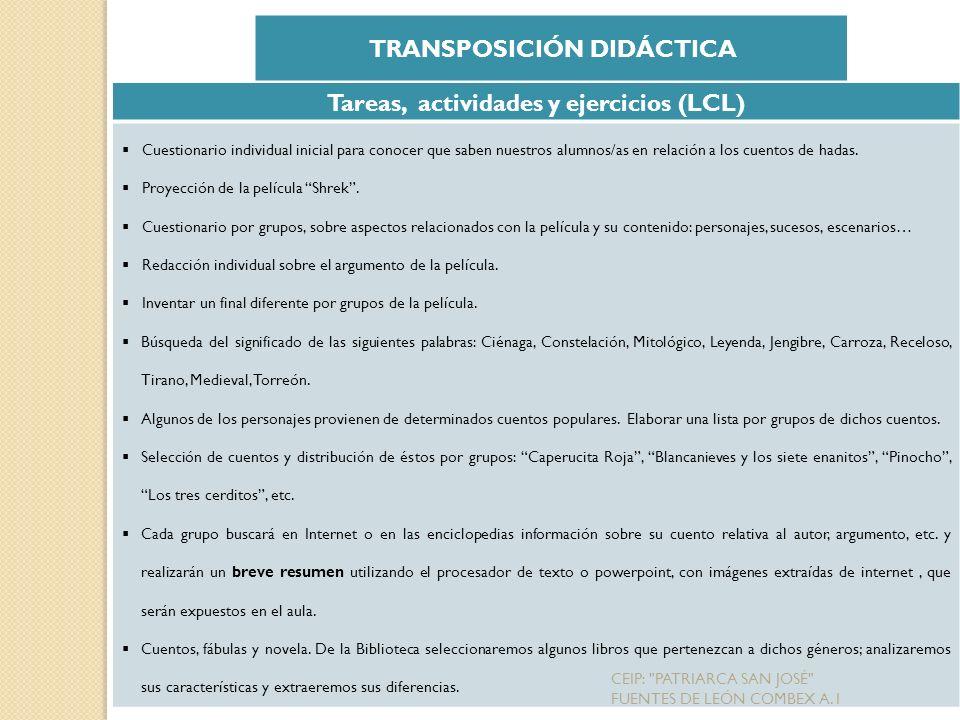 TRANSPOSICIÓN DIDÁCTICA Tareas, actividades y ejercicios (LCL)