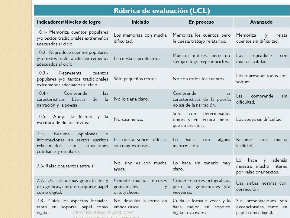 Rúbrica de evaluación (LCL)