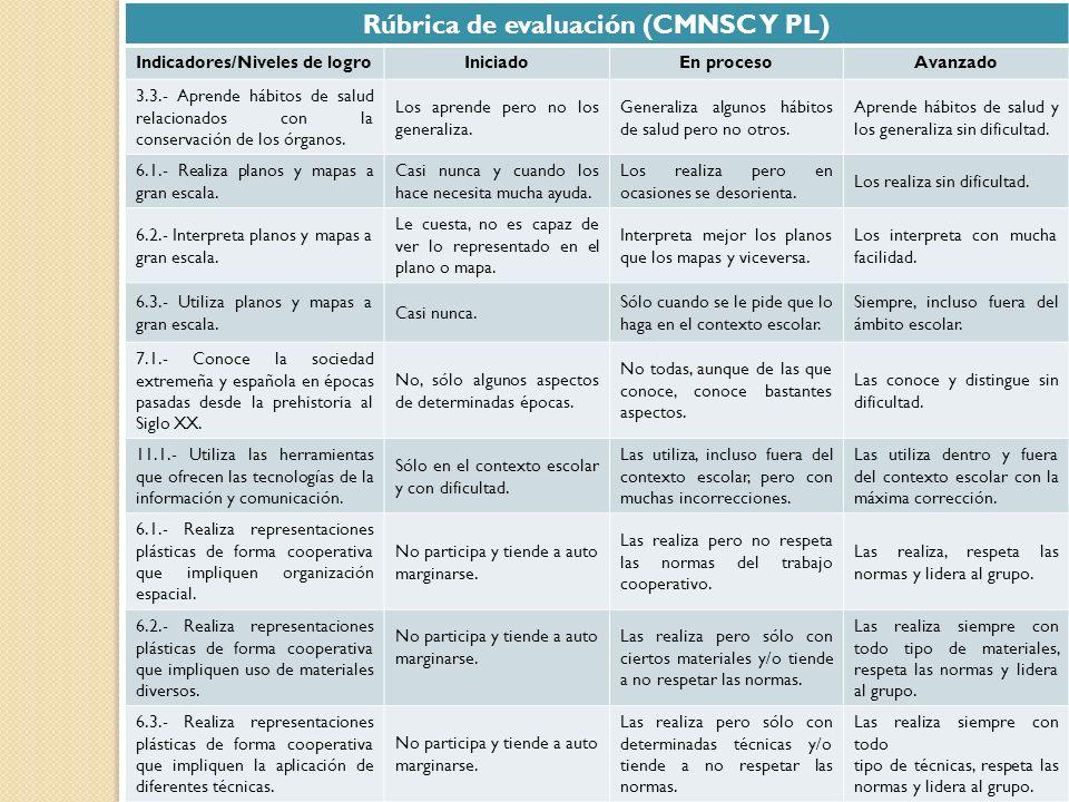 Rúbrica de evaluación (CMNSC Y PL)