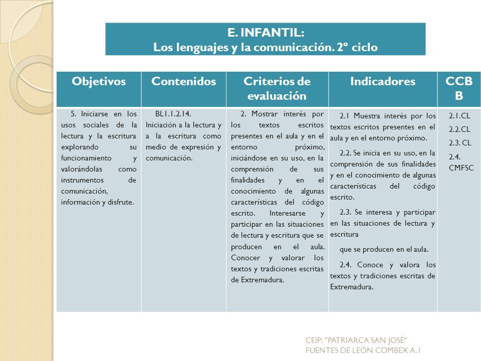 Los lenguajes y la comunicación. 2º ciclo Criterios de evaluación