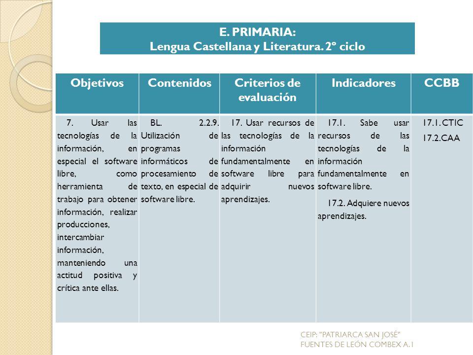 Lengua Castellana y Literatura. 2º ciclo Criterios de evaluación
