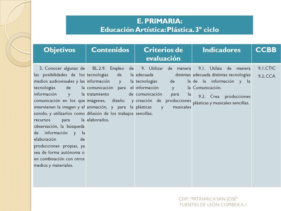 Educación Artística: Plástica. 3º ciclo Criterios de evaluación