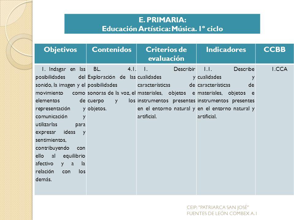 Educación Artística: Música. 1º ciclo Criterios de evaluación