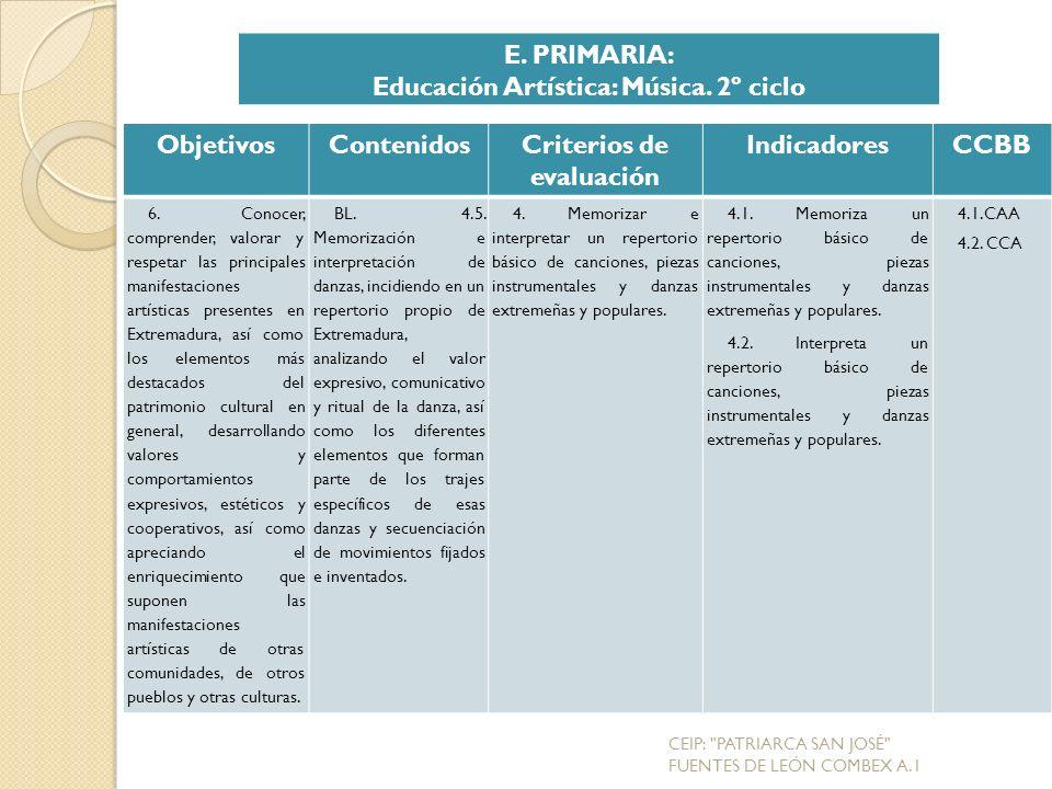 Educación Artística: Música. 2º ciclo Criterios de evaluación