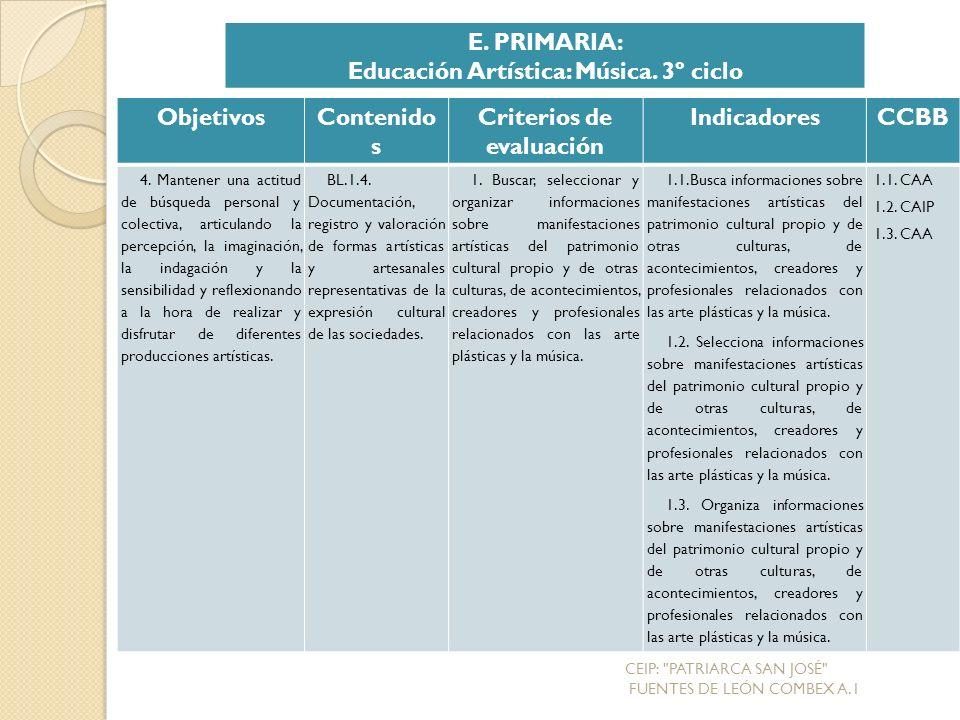 Educación Artística: Música. 3º ciclo Criterios de evaluación