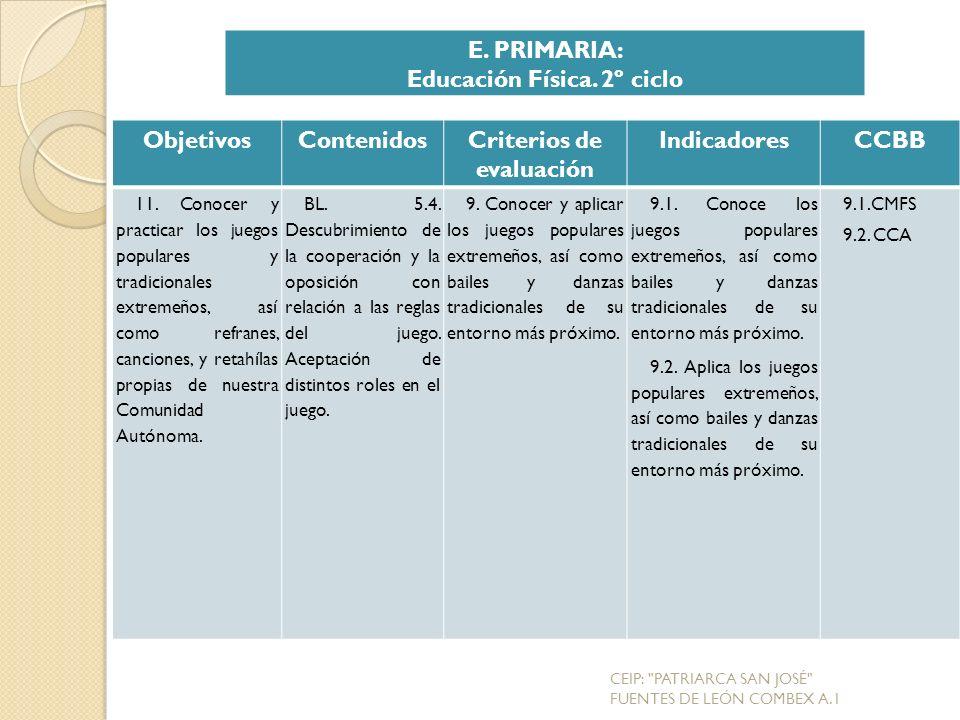 Educación Física. 2º ciclo Criterios de evaluación