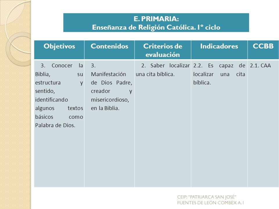 Enseñanza de Religión Católica. 1º ciclo Criterios de evaluación