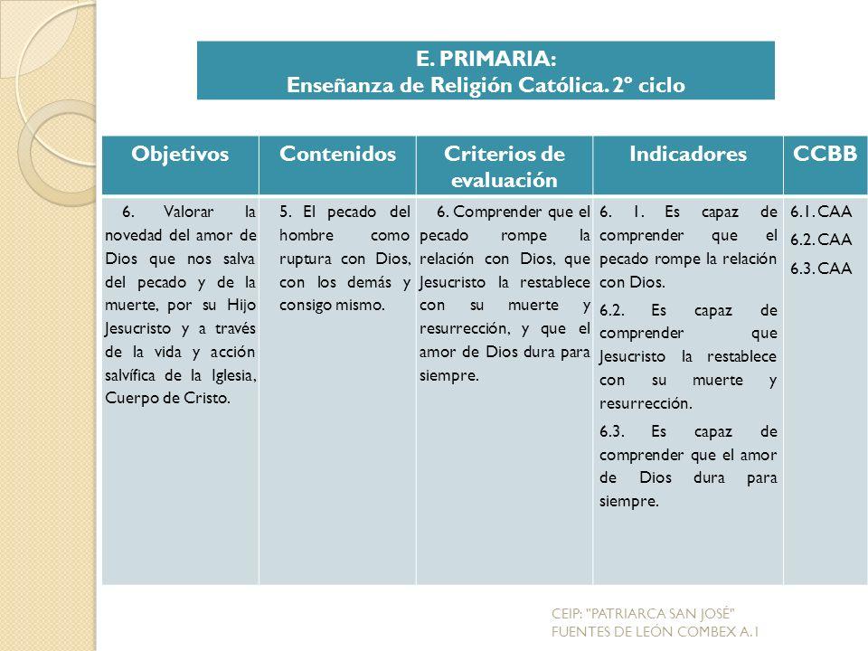Enseñanza de Religión Católica. 2º ciclo Criterios de evaluación