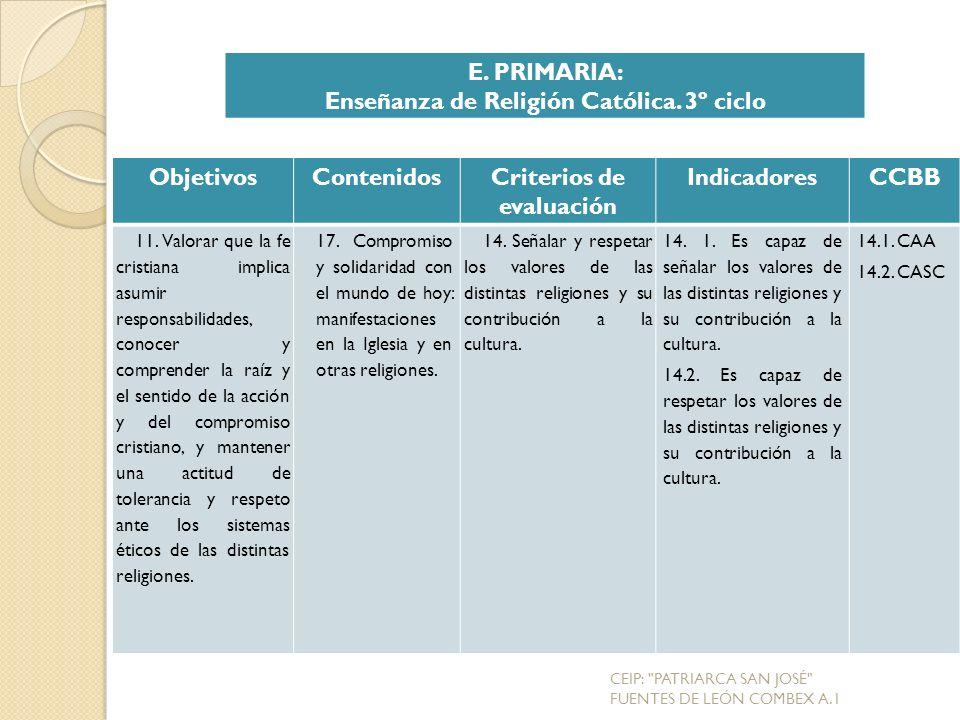 Enseñanza de Religión Católica. 3º ciclo Criterios de evaluación