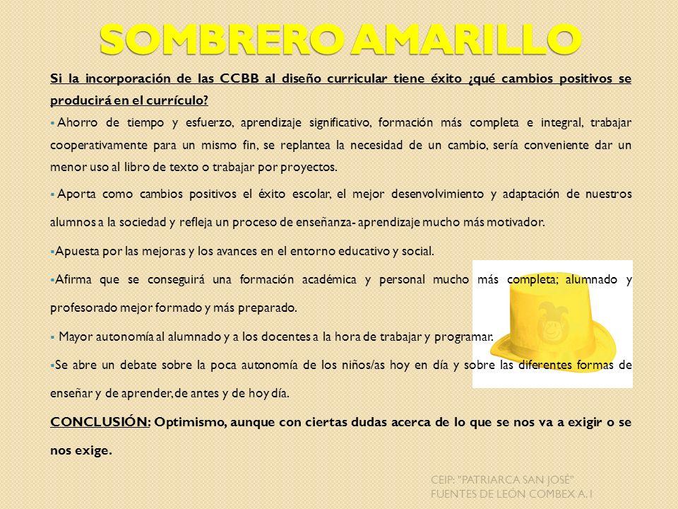 Sombrero Amarillo Si la incorporación de las CCBB al diseño curricular tiene éxito ¿qué cambios positivos se producirá en el currículo