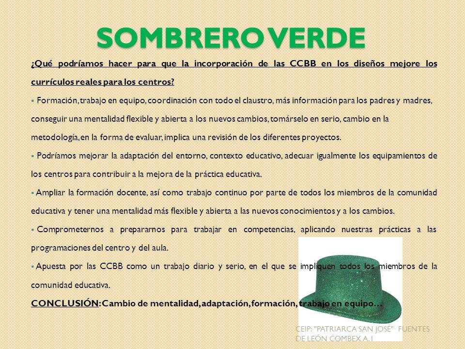 Sombrero Verde ¿Qué podríamos hacer para que la incorporación de las CCBB en los diseños mejore los currículos reales para los centros