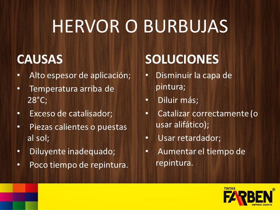 HERVOR O BURBUJAS CAUSAS SOLUCIONES Alto espesor de aplicación;