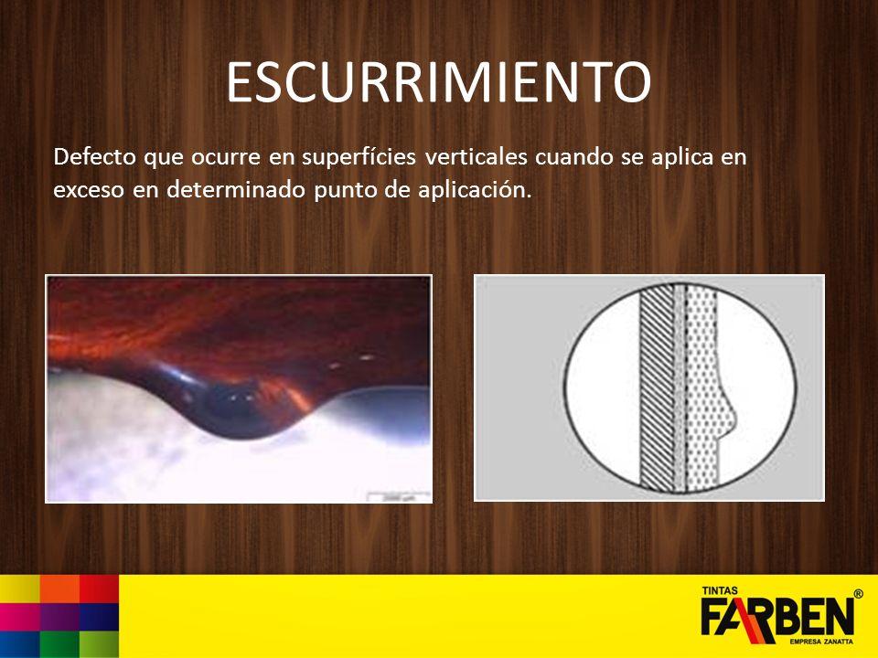 ESCURRIMIENTO Defecto que ocurre en superfícies verticales cuando se aplica en exceso en determinado punto de aplicación.