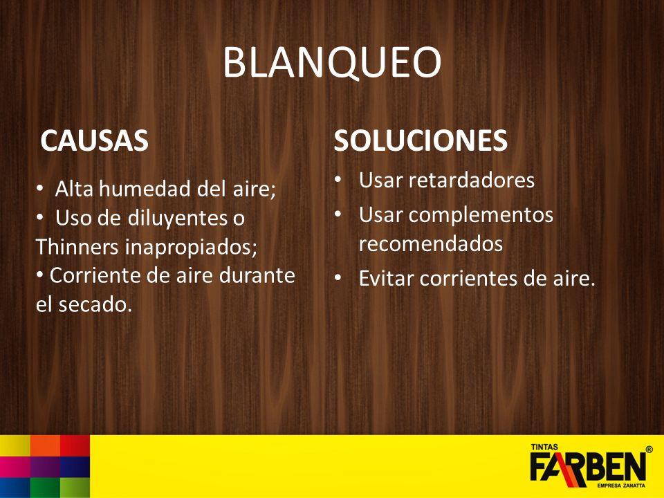 BLANQUEO CAUSAS SOLUCIONES Usar retardadores