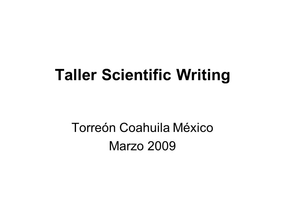 Taller Scientific Writing