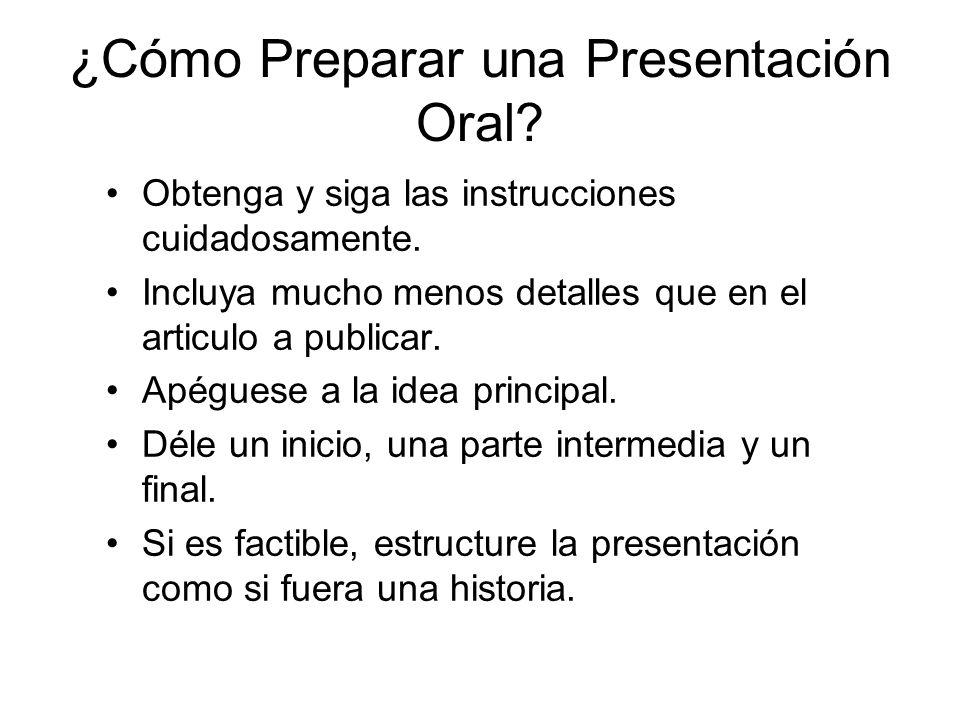 ¿Cómo Preparar una Presentación Oral