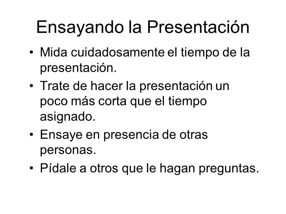 Ensayando la Presentación