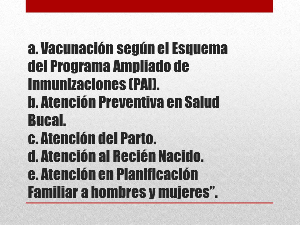 a. Vacunación según el Esquema del Programa Ampliado de Inmunizaciones (PAI).
