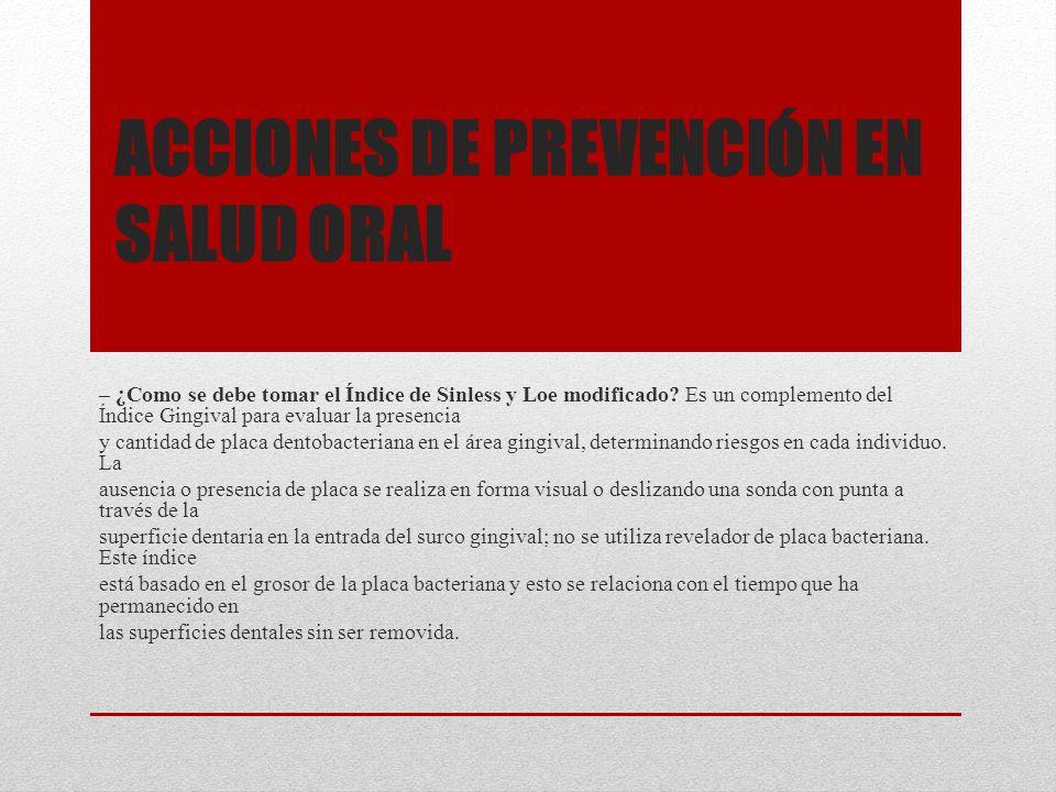 Acciones de prevención en salud oral