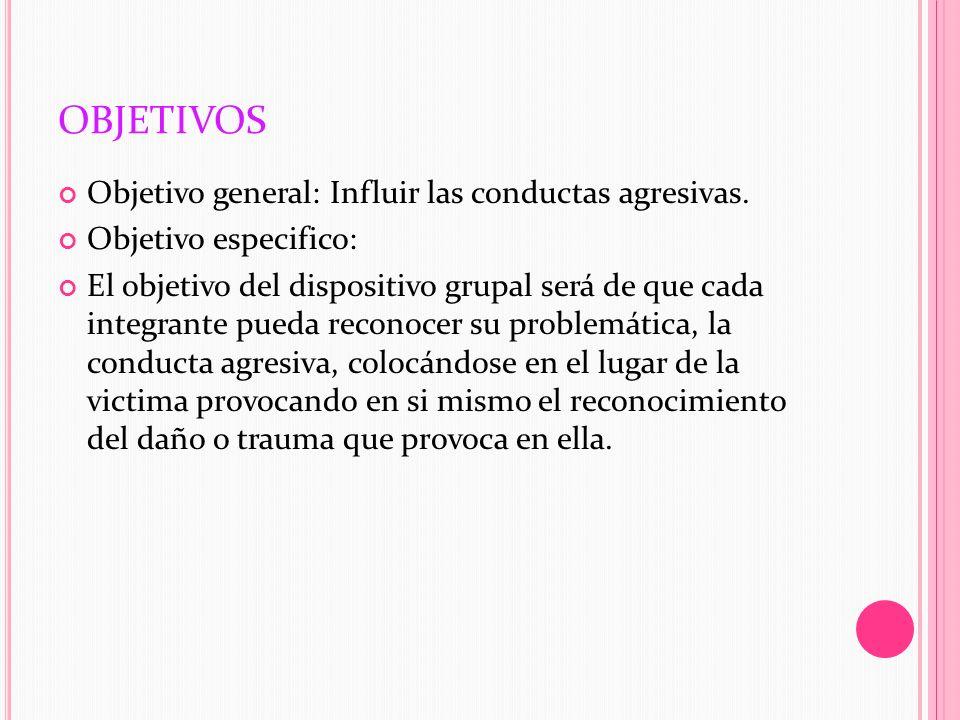 OBJETIVOS Objetivo general: Influir las conductas agresivas.