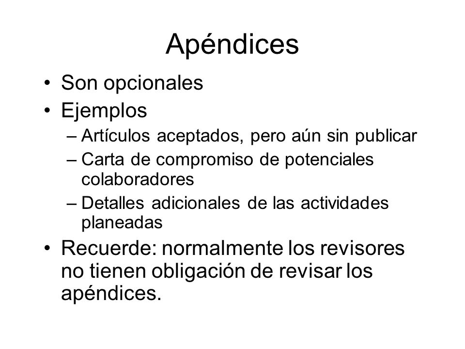 Apéndices Son opcionales Ejemplos