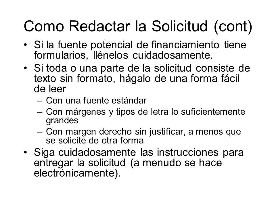 Como Redactar la Solicitud (cont)
