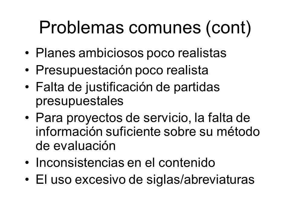 Problemas comunes (cont)