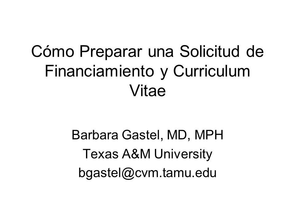 Cómo Preparar una Solicitud de Financiamiento y Curriculum Vitae