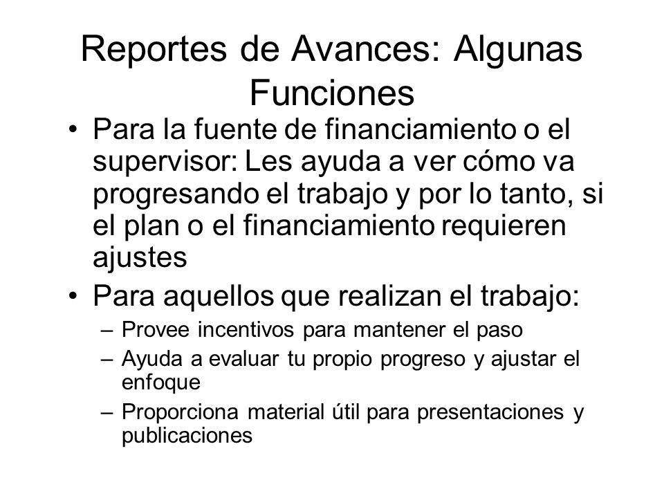 Reportes de Avances: Algunas Funciones