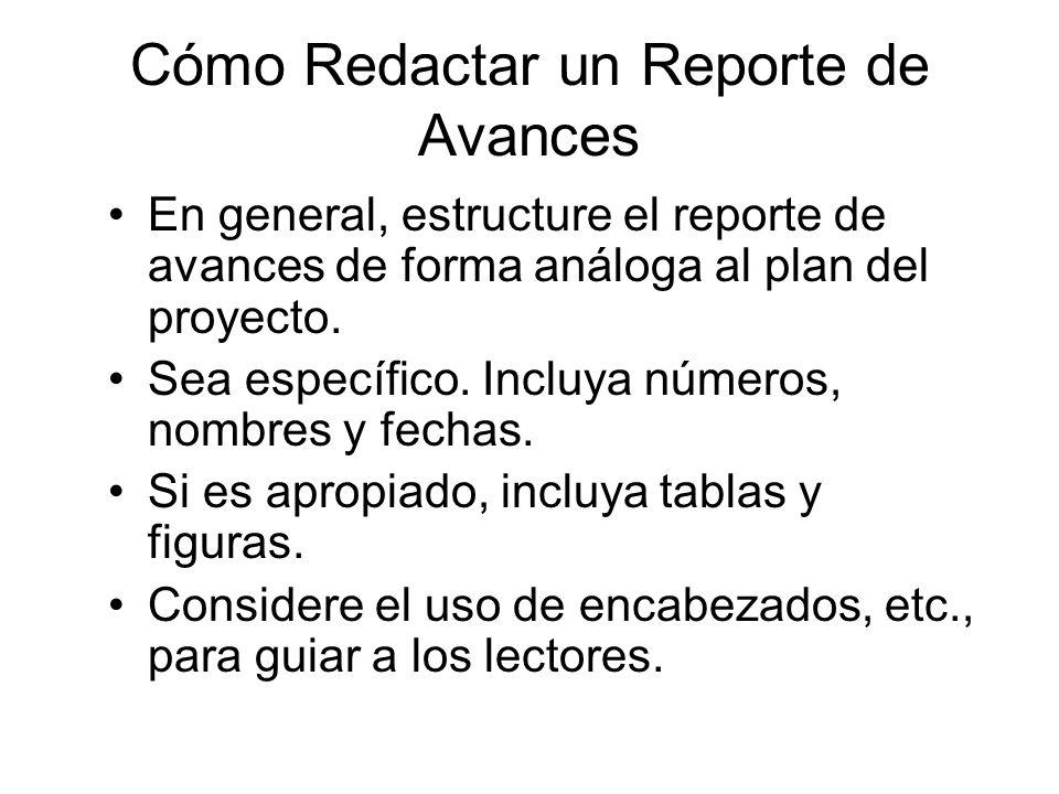 Cómo Redactar un Reporte de Avances