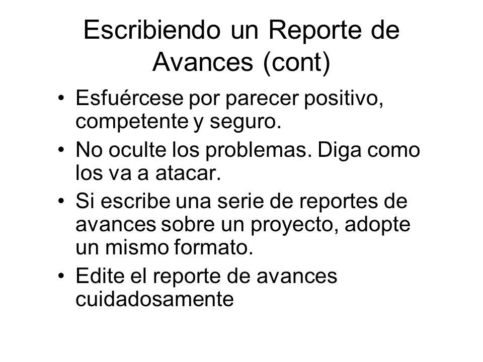 Escribiendo un Reporte de Avances (cont)