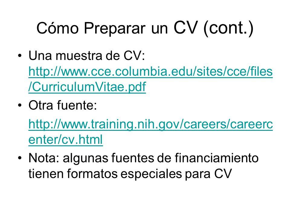 Cómo Preparar un CV (cont.)