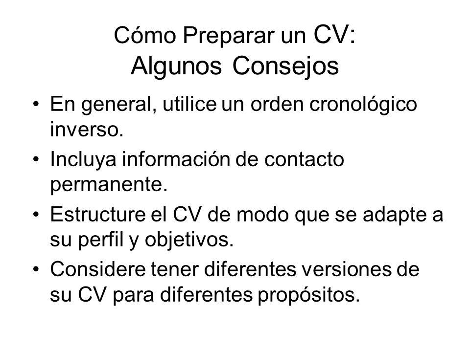 Cómo Preparar un CV: Algunos Consejos