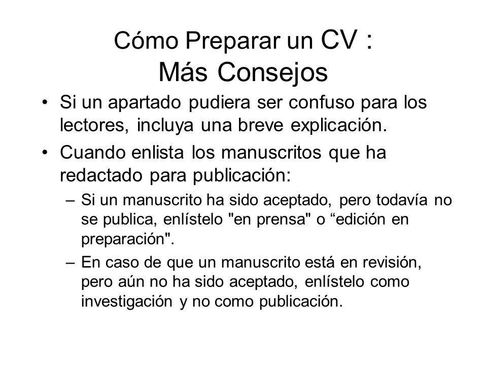 Cómo Preparar un CV : Más Consejos