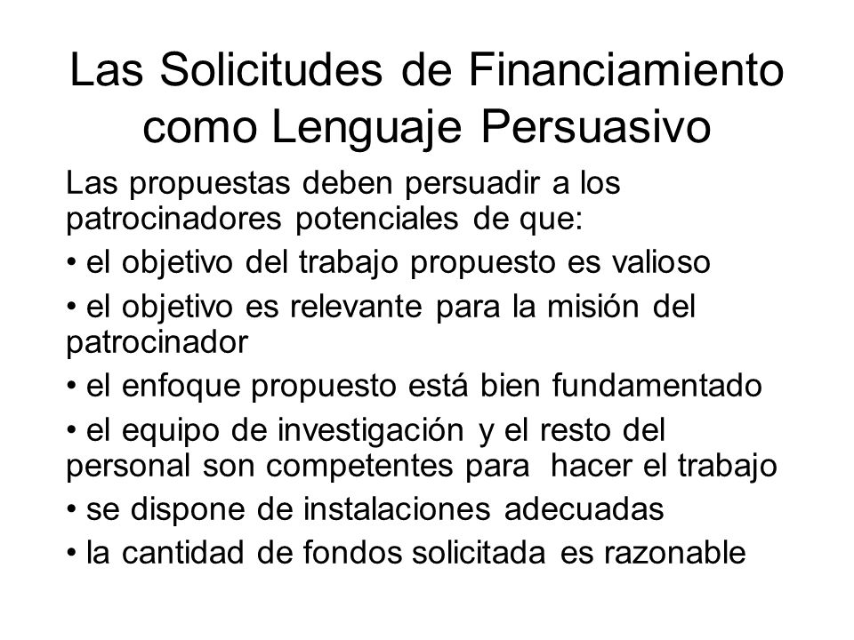 Las Solicitudes de Financiamiento como Lenguaje Persuasivo
