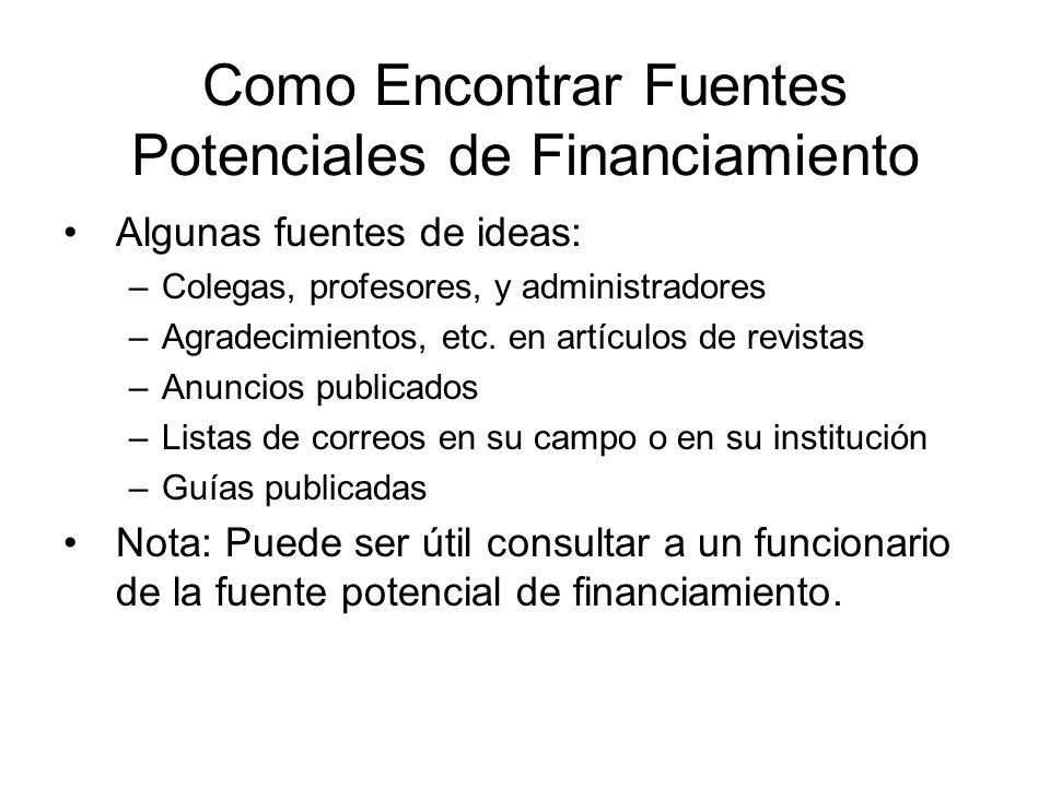Como Encontrar Fuentes Potenciales de Financiamiento
