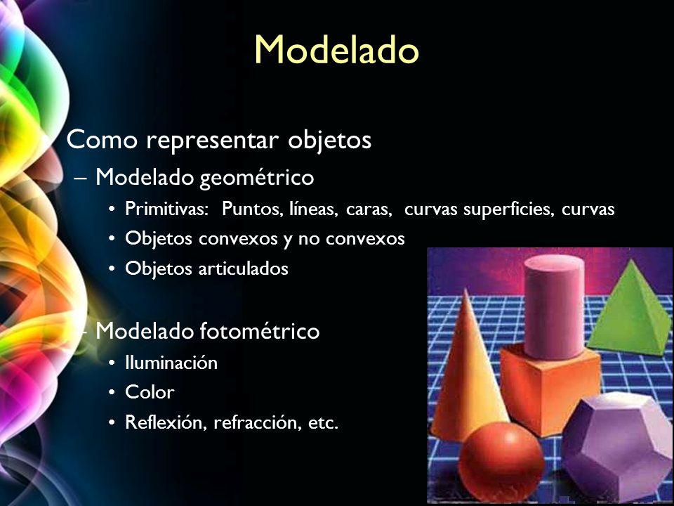 Modelado Como representar objetos Modelado geométrico