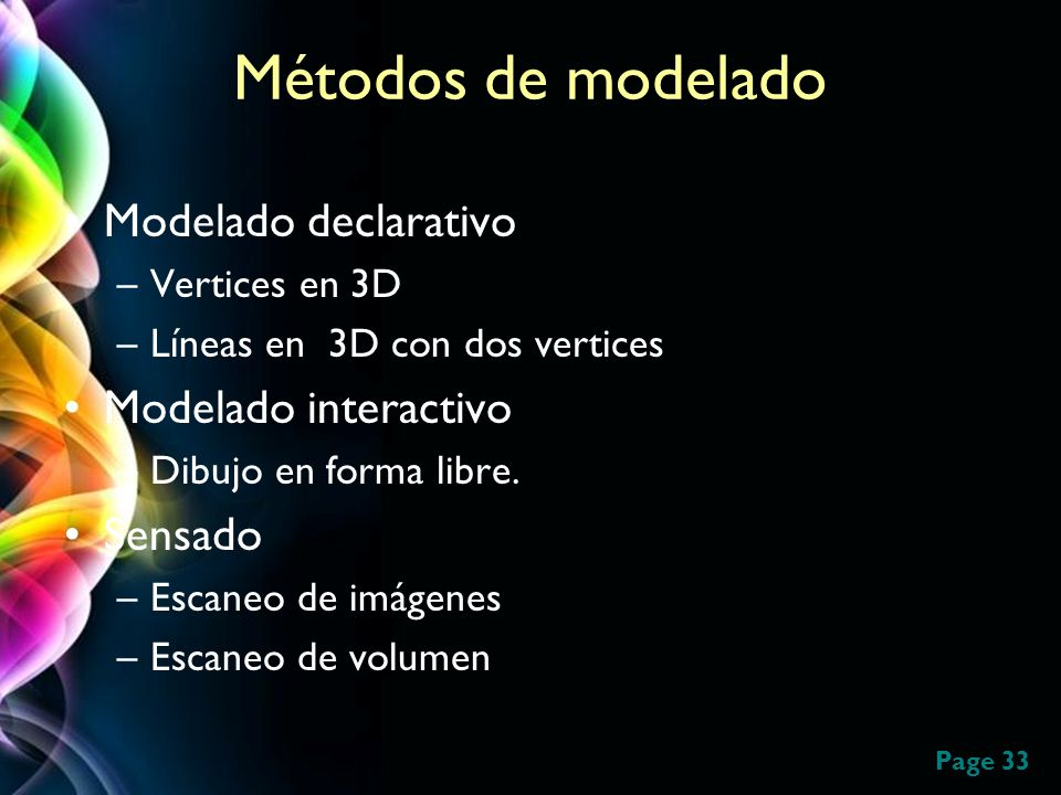 Métodos de modelado Modelado declarativo Modelado interactivo Sensado