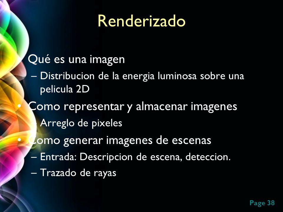 Renderizado Qué es una imagen Como representar y almacenar imagenes