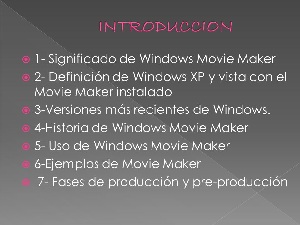 INTRODUCCION 1- Significado de Windows Movie Maker