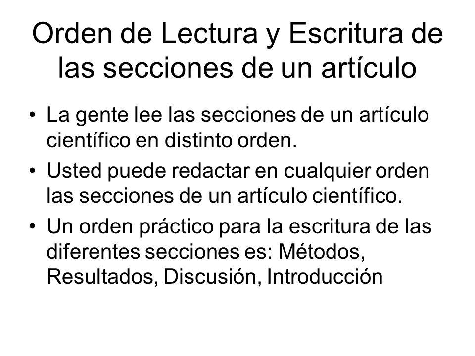 Orden de Lectura y Escritura de las secciones de un artículo