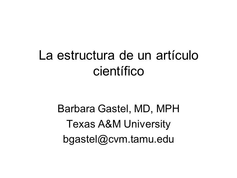 La estructura de un artículo científico