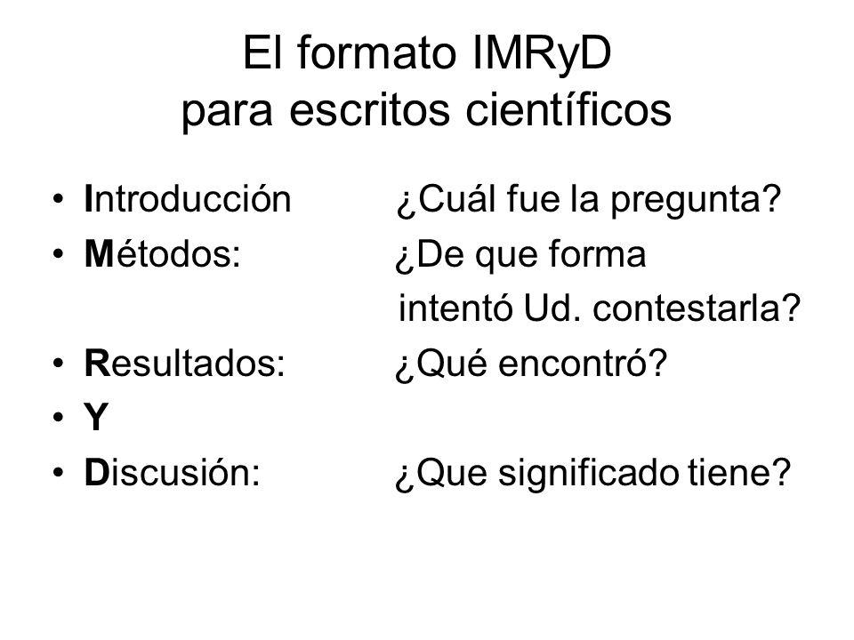 El formato IMRyD para escritos científicos