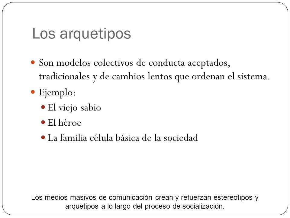 Los arquetipos Son modelos colectivos de conducta aceptados, tradicionales y de cambios lentos que ordenan el sistema.
