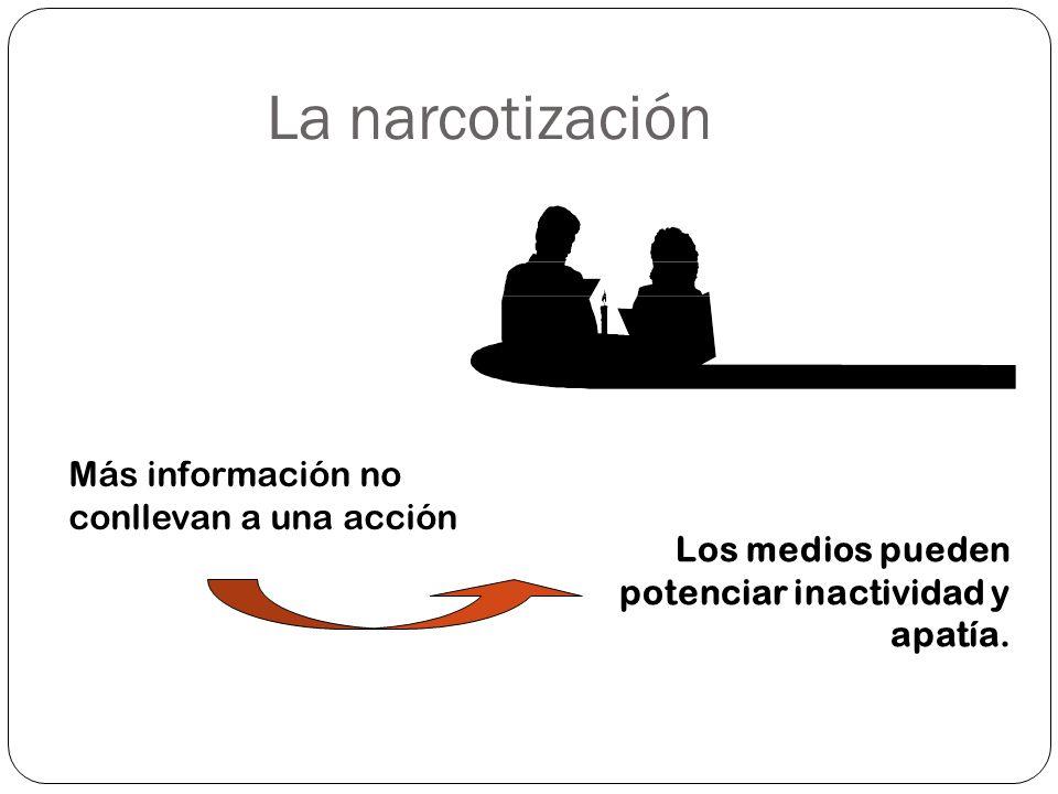 La narcotización Más información no conllevan a una acción