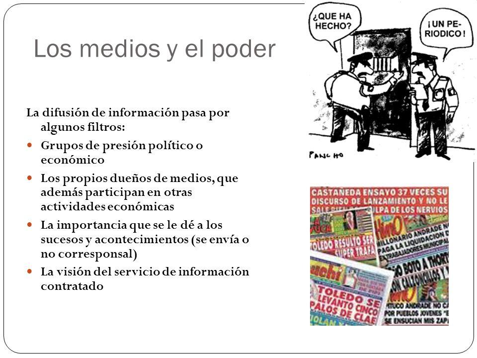 Los medios y el poder La difusión de información pasa por algunos filtros: Grupos de presión político o económico.