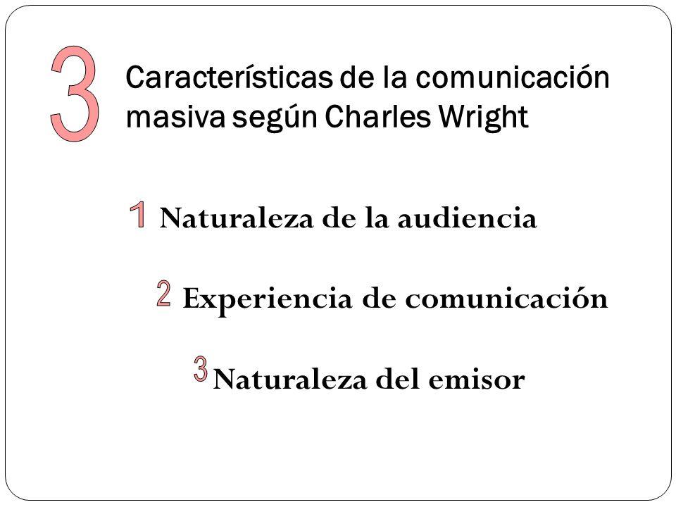 Características de la comunicación masiva según Charles Wright