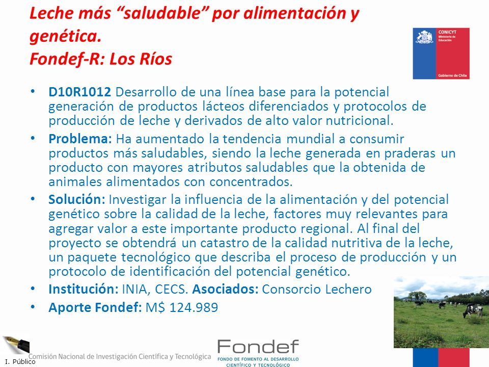Leche más saludable por alimentación y genética. Fondef-R: Los Ríos