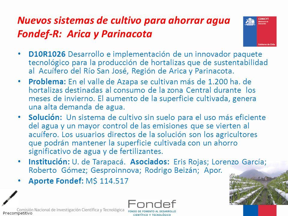 Nuevos sistemas de cultivo para ahorrar agua Fondef-R: Arica y Parinacota